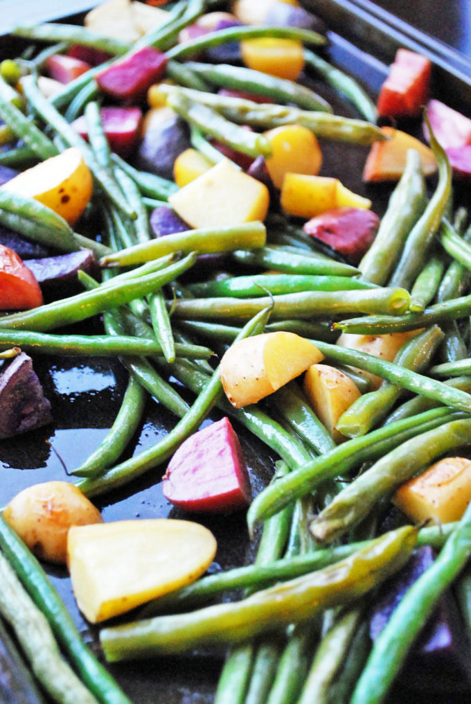pan of roasted green beans and fingerling potatoes