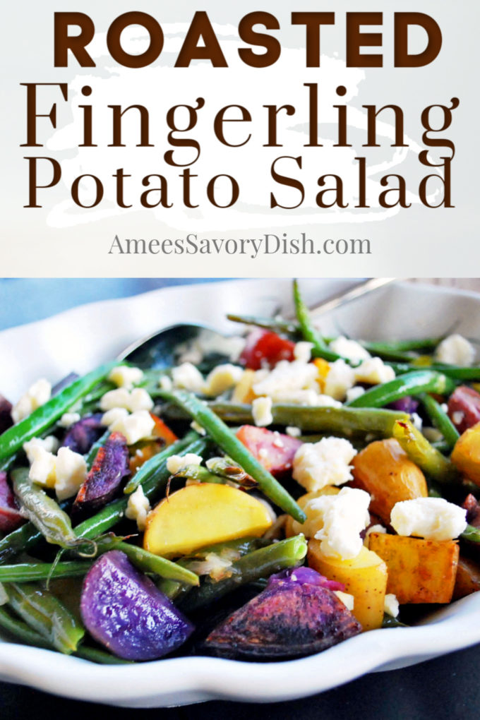 Bowl of roasted fingerling potato salad with green beans and feta cheese