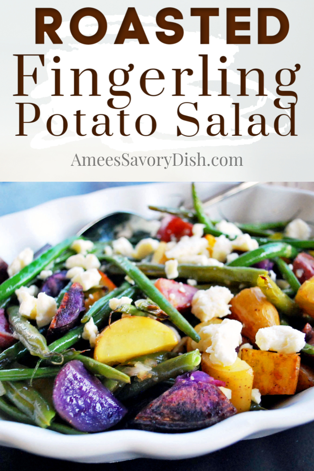 Roasted fingerling potato salad with green beans and feta cheese is a delicious and easy to make side salad recipe topped with a delicious lemon balsamic vinaigrette. #potatosalad #potatorecipe #roastedpotatosalad #fingerlingpotatoes via @Ameessavorydish