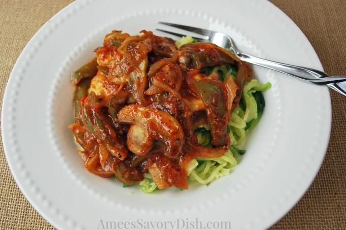"Sicilian Skillet Chicken Over Parmesan Zucchini ""Noodles"" #SundaySupper #McSkilletSauce"