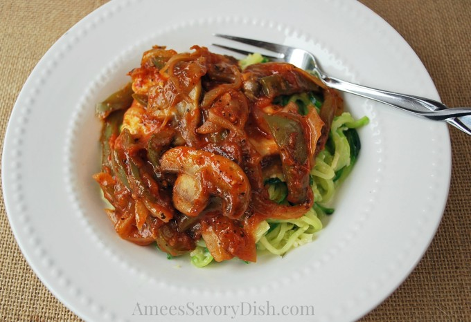 Sicilian Skillet Chicken with Parmesan Zucchini Noodles