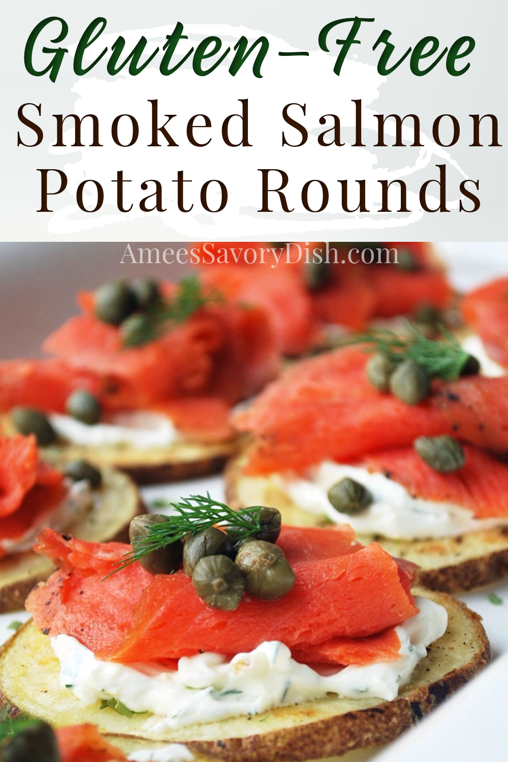 This delicious appetizer recipe is a twist on potato skins made with thinly sliced roasted potato slices topped with a creamy yogurt chive sauce, wild-caught smoked salmon, and capers. These potato rounds are a perfect healthy Superbowl appetizer or elegant, bite-sized, snack for your next gathering. #smokedsalmon #salmonappetizer #glutenfreeappetizers #glutenfreepartyfood #glutenfreerecipe #potatorecipe #potatoskins #smokedsalmon #glutenfree via @Ameessavorydish