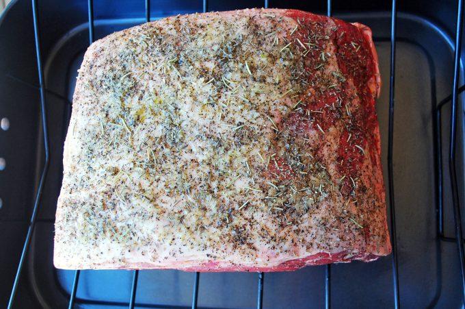standing rib roast seasoned for cooking
