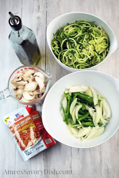 ingredients to make Sicilian skillet chicken and zucchini noodles