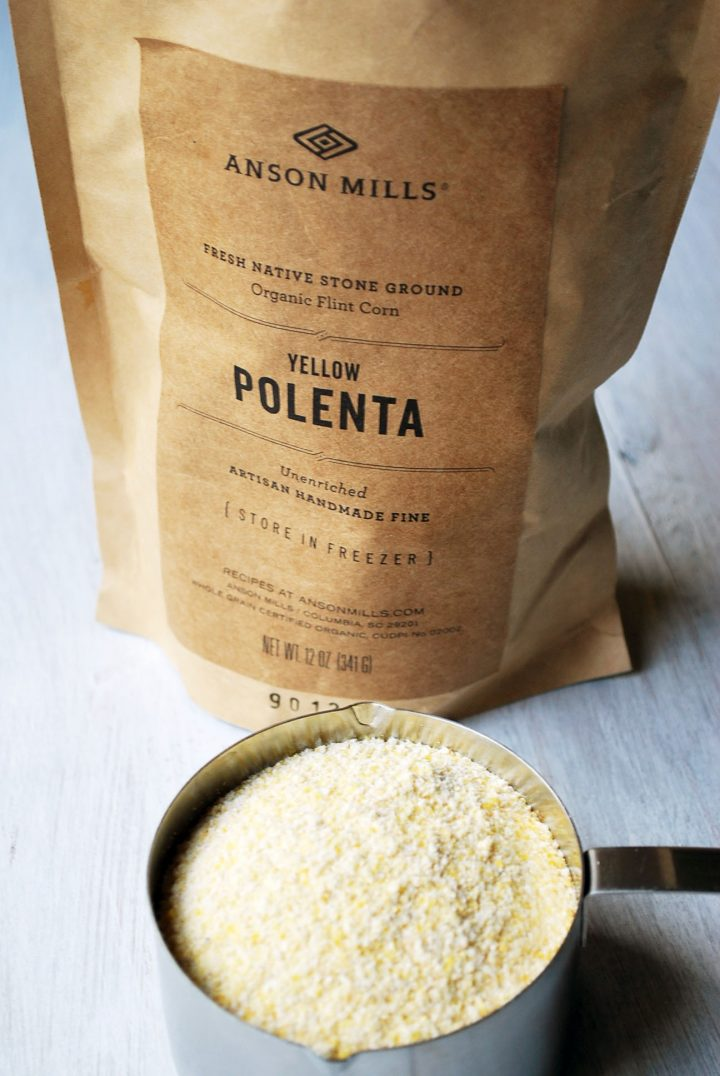 bag of Anson Mills polenta with measuring cup