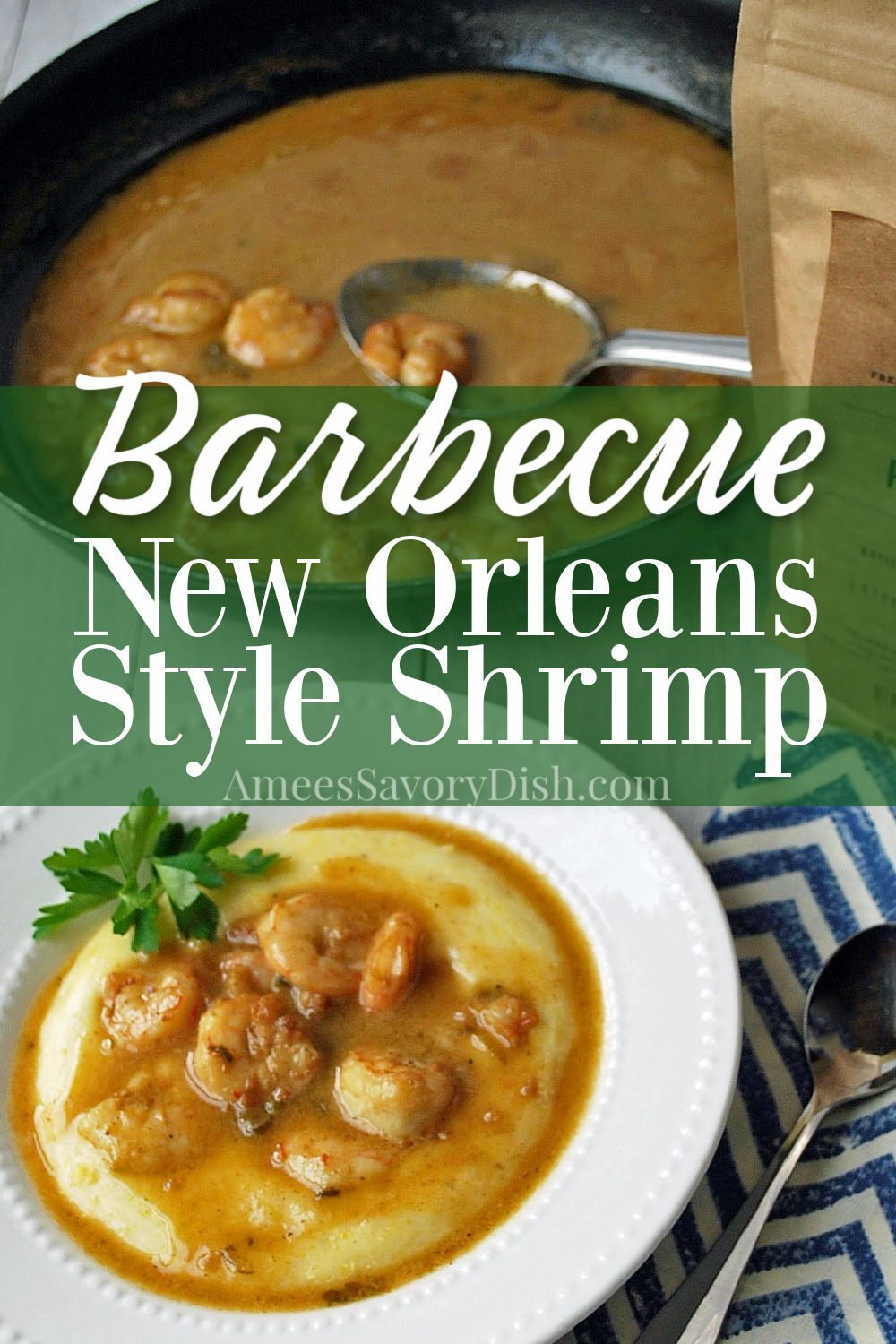 A recipe variation of New Orleans style barbecue shrimp served over creamy aged-cheddar polenta. A delicious twist on shrimp & grits! #shrimprecipe #shrimpandgrits #barbecueshrimp #southernrecipes #glutenfree via @Ameessavorydish