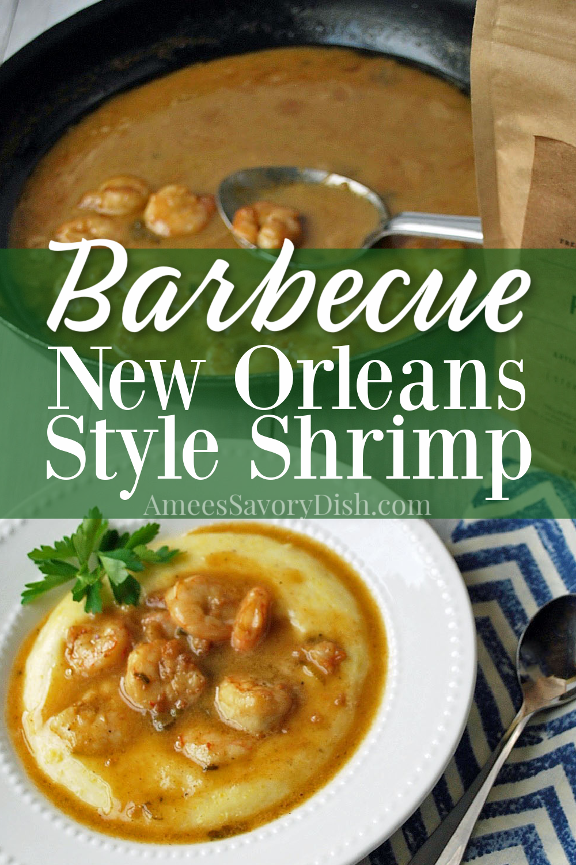 A recipe variation of New Orleans style barbecue shrimp served over creamy aged-cheddar polenta. A delicious twist on shrimp & grits! #shrimprecipe #shrimpandgrits #barbecueshrimp #southernrecipes #glutenfree via @Ameessavorydish