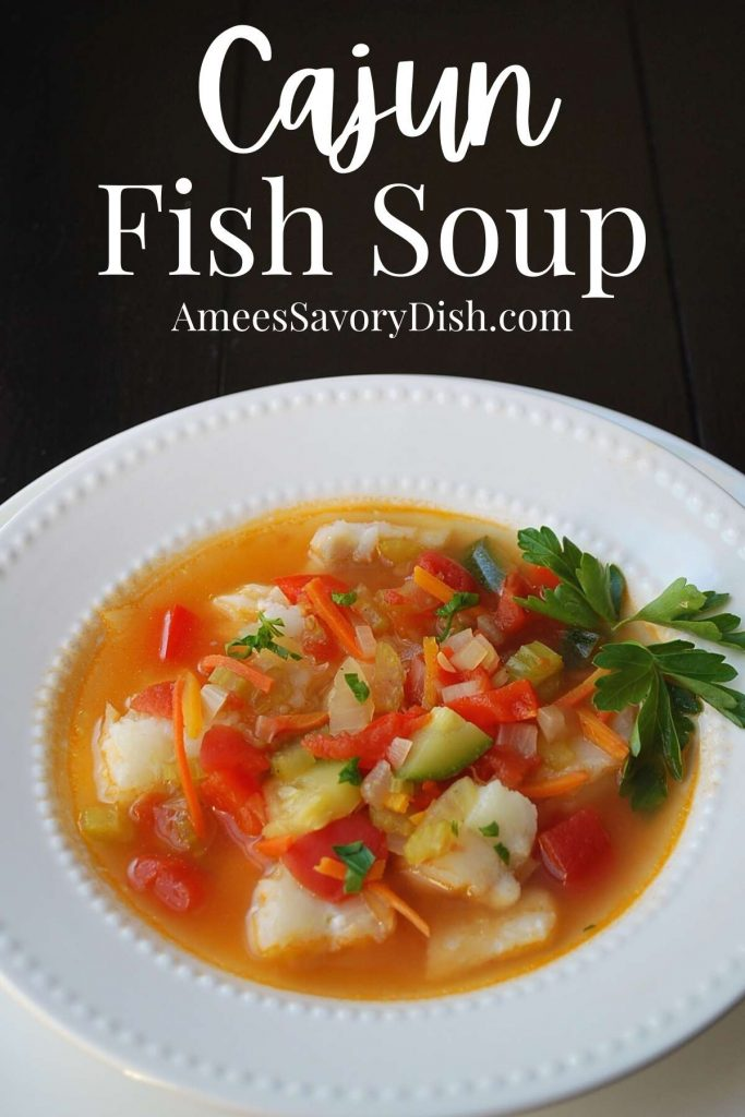 fish soup in a white bowl with text overlay with the recipe title