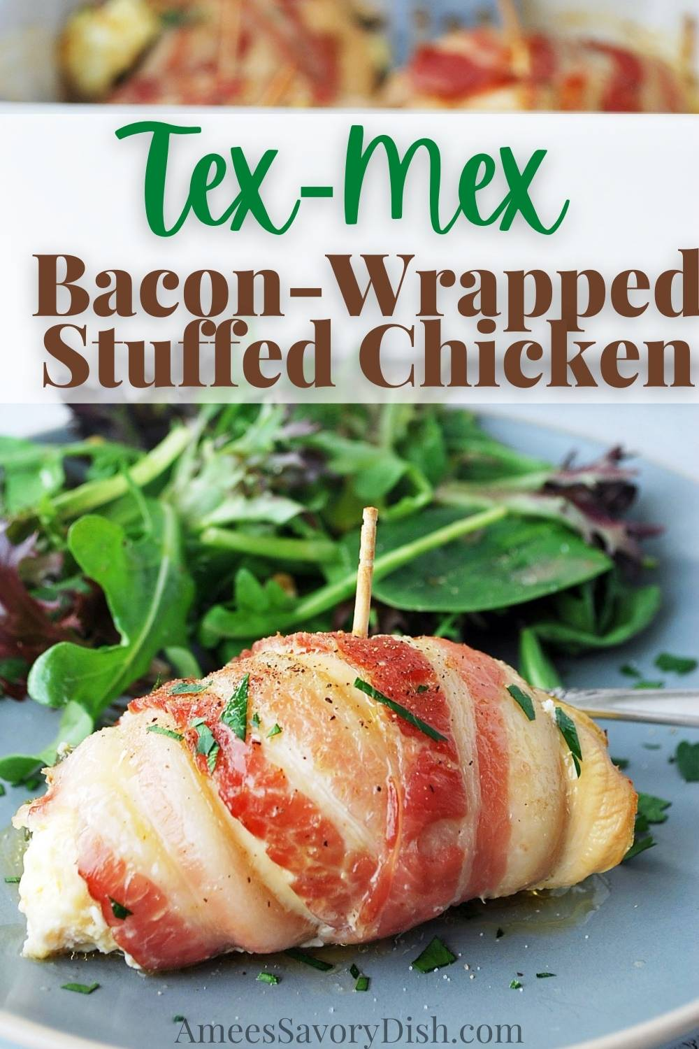 Tex-Mex bacon-wrapped stuffed chicken is made with thinly sliced boneless chicken breasts stuffed with a jalapeño cheese mixture, wrapped in bacon, and baked to perfection. This delicious bacon-wrapped stuffed chicken is also packed with 30 grams of protein! #texmex #chickenrollups #baconchickenwraps #chickenrecipe #glutenfreedinner #baconwrappedstuffedchicken via @Ameessavorydish