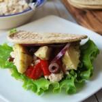 Tuna salad wrap on a plate