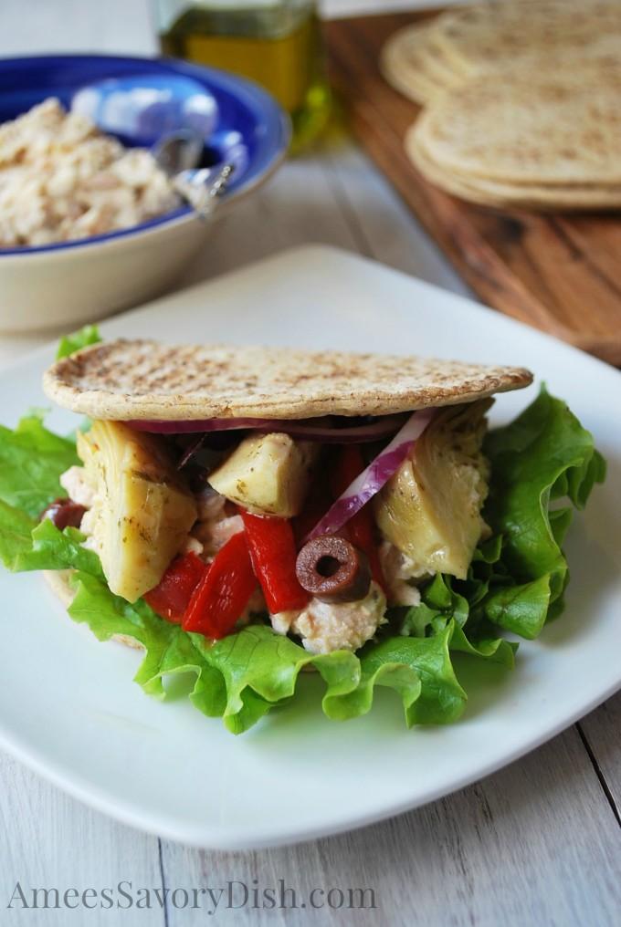Delicious Mediterranean Tuna Salad Wrap recipe- Amee's Savory Dish