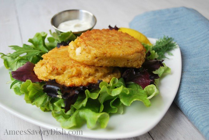 Salmon patties plate