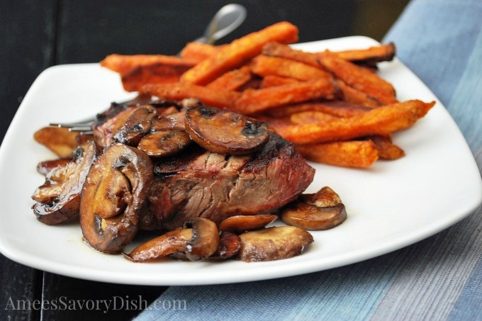 Grilled Top Sirloin with Balsamic Glazed Mushrooms & Sweet Potato Fries With Sea Salt