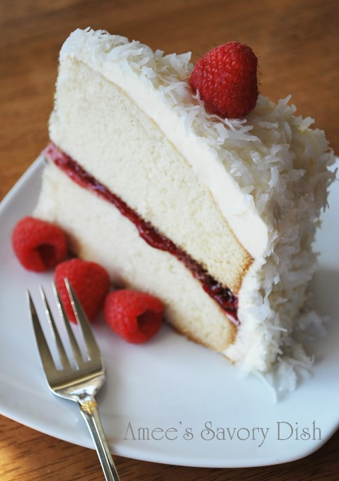 vanilla bean cake with raspberry filling and white chocolate buttercream