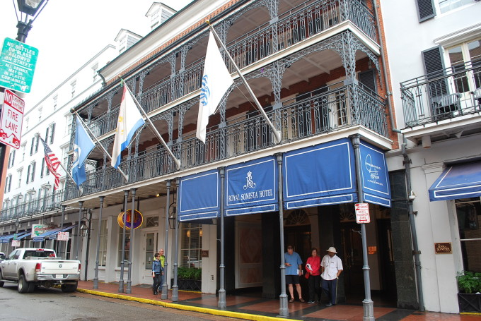 The front of the Royal Sonesta Hotel in New Orleans