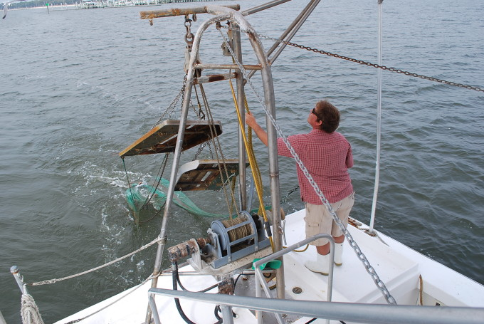 A man guiding a net on a shrimp boat