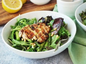 Easy grilled chicken salad with roasted asparagus
