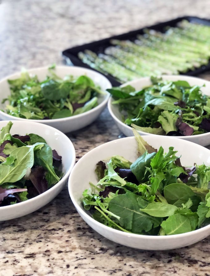 mixed greens and roasted asparagus for grilled chicken salads