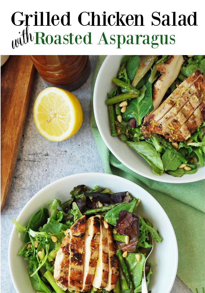 An easy and flavorful grilled chicken salad recipe made with roasted fresh asparagus, toasted pine nuts, and a delicious lemon balsamic vinaigrette dressing.  It's the perfect weeknight recipe to use up leftover grilled chicken! #grilledchickensalad #saladrecipes #salads #entreesalads via @Ameessavorydish