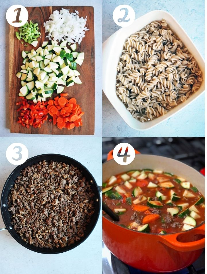 four step photos to make lasagna soup: chopped vegetables, cooked pasta, browned ground beef, and cooking in a dutch oven