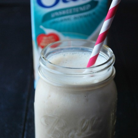 smoothie with Silk soymilk container in background
