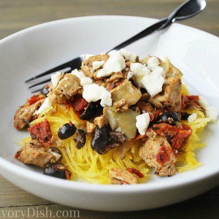 Artichoke & Sundried Tomato Chicken over squash