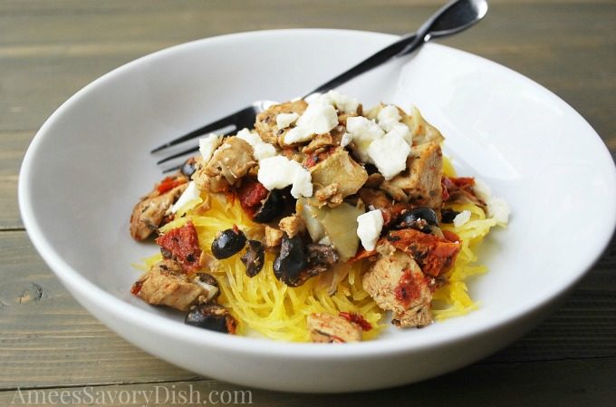 Artichoke & Sun-Dried Tomato Chicken Over Spaghetti Squash #RecipeRedux