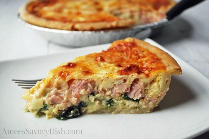 Gluten-Free Ham, Spinach & Gruyere Quiche #SundaySupper