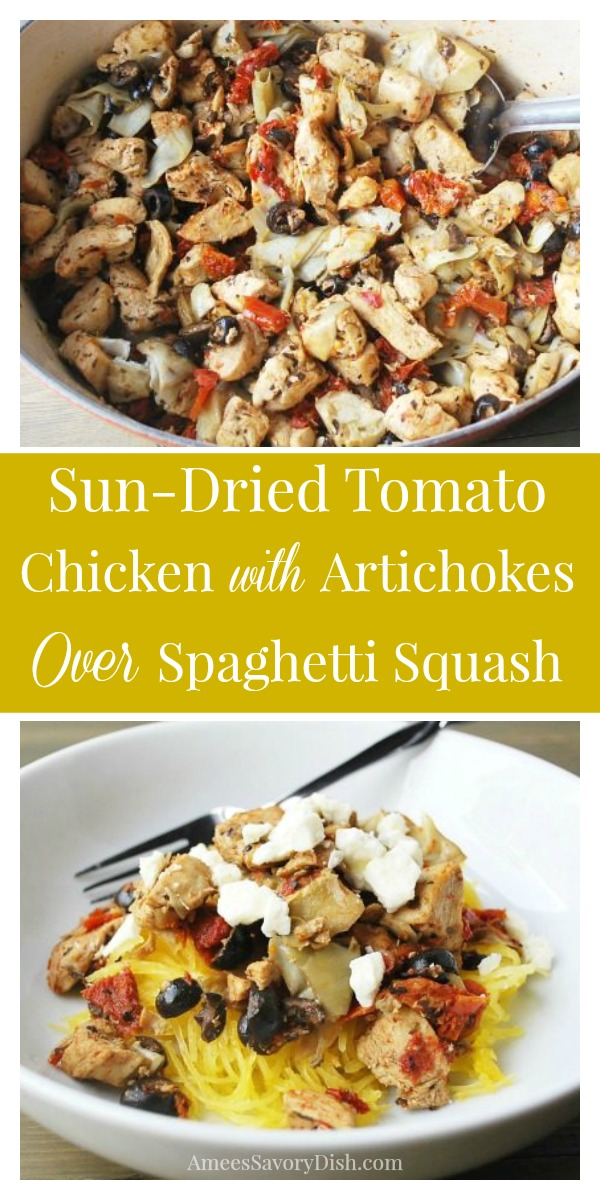 This lightened-up and low-carb recipe for Sun-Dried Tomato Chicken with Artichokes Over Spaghetti Squash makes a quick and easy weeknight meal.