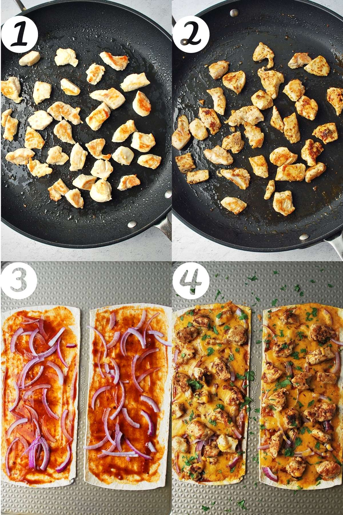 steps for making BBQ chicken flatbread pizzas: saute chicken, season chicken, assemble flatbreads, finished and baked