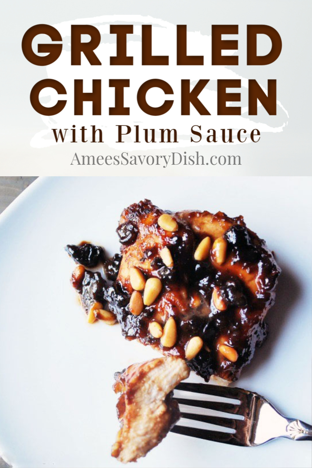 A moist and tender recipe for marinated grilled chicken with plum sauce using pureed plums and balsamic vinegar and topped with toasted pine nuts.  #grilledchicken #chickenrecipes #grilling #chicken #plums via @Ameessavorydish