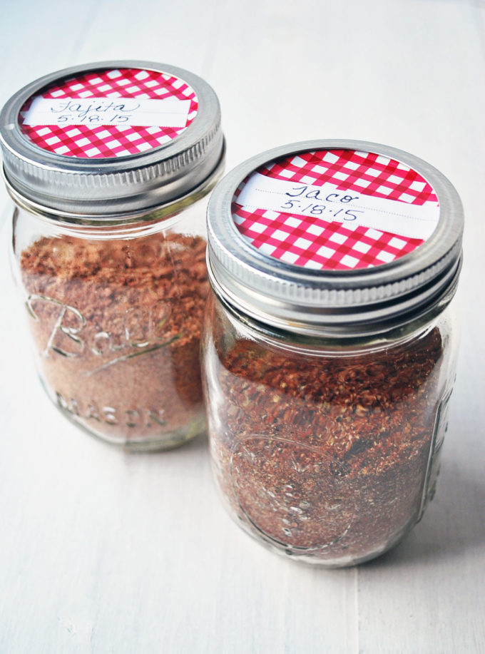 Homemade taco and fajita seasonings in mason jars