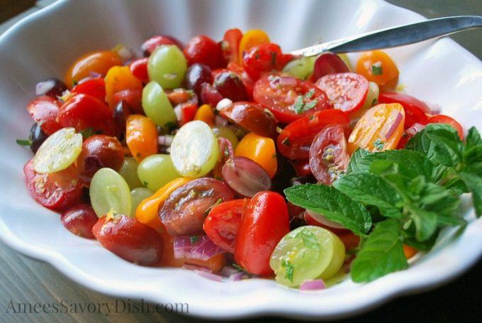 Grape Mint Tomato Salad