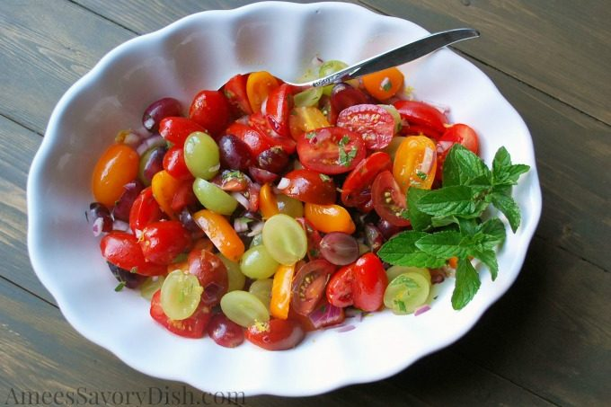 Refreshing Grape Mint Tomato Salad from Ally's Kitchen #CookbookReview