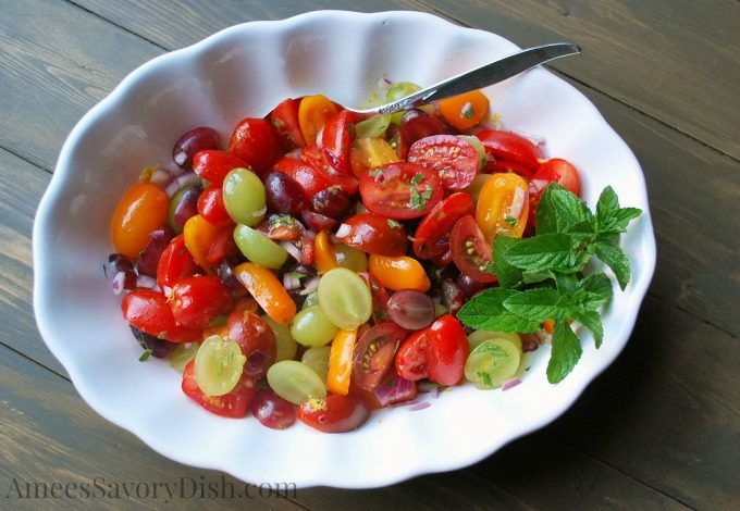 Mint Grape and Tomato Salad