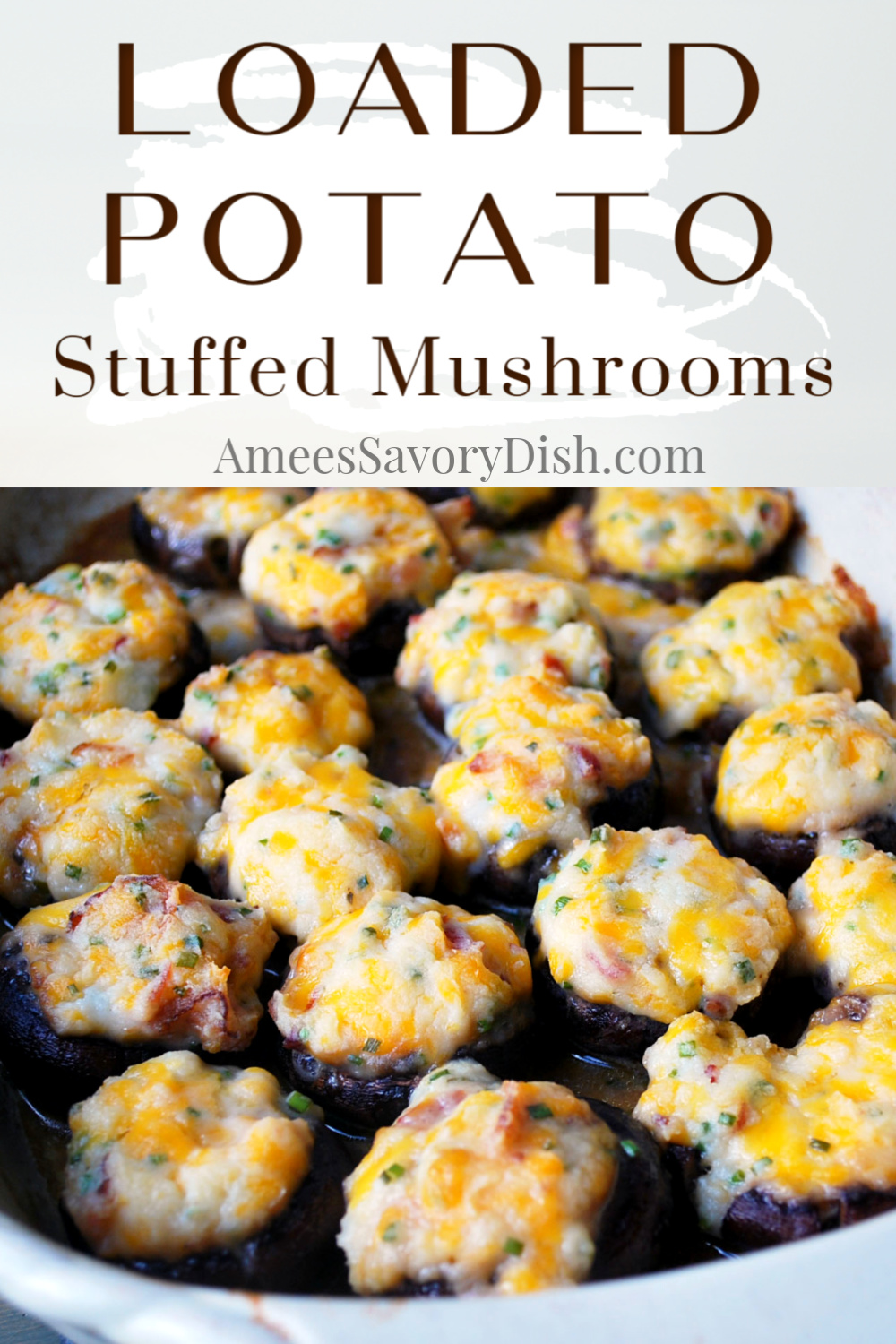 This loaded potato stuffed portobello mushrooms recipe is a fun twist on regular loaded baked potatoes made with baby portabellos and sharp cheddar cheese. #appetizer #stuffedmushrooms #stuffedportobellomushrooms #mushroomrecipe via @Ameessavorydish