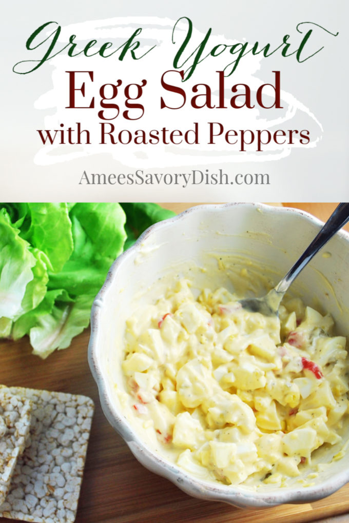 Egg salad made with Greek yogurt and roasted red peppers