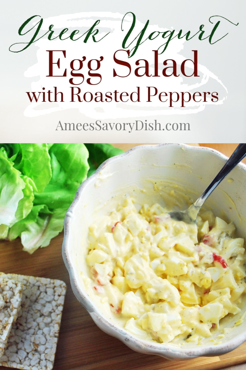 A simple recipe for egg salad made with Greek yogurt, mayonnaise, dijon mustard, relish, and roasted red peppers.  This tasty egg salad recipe is perfect for meal prep! via @Ameessavorydish