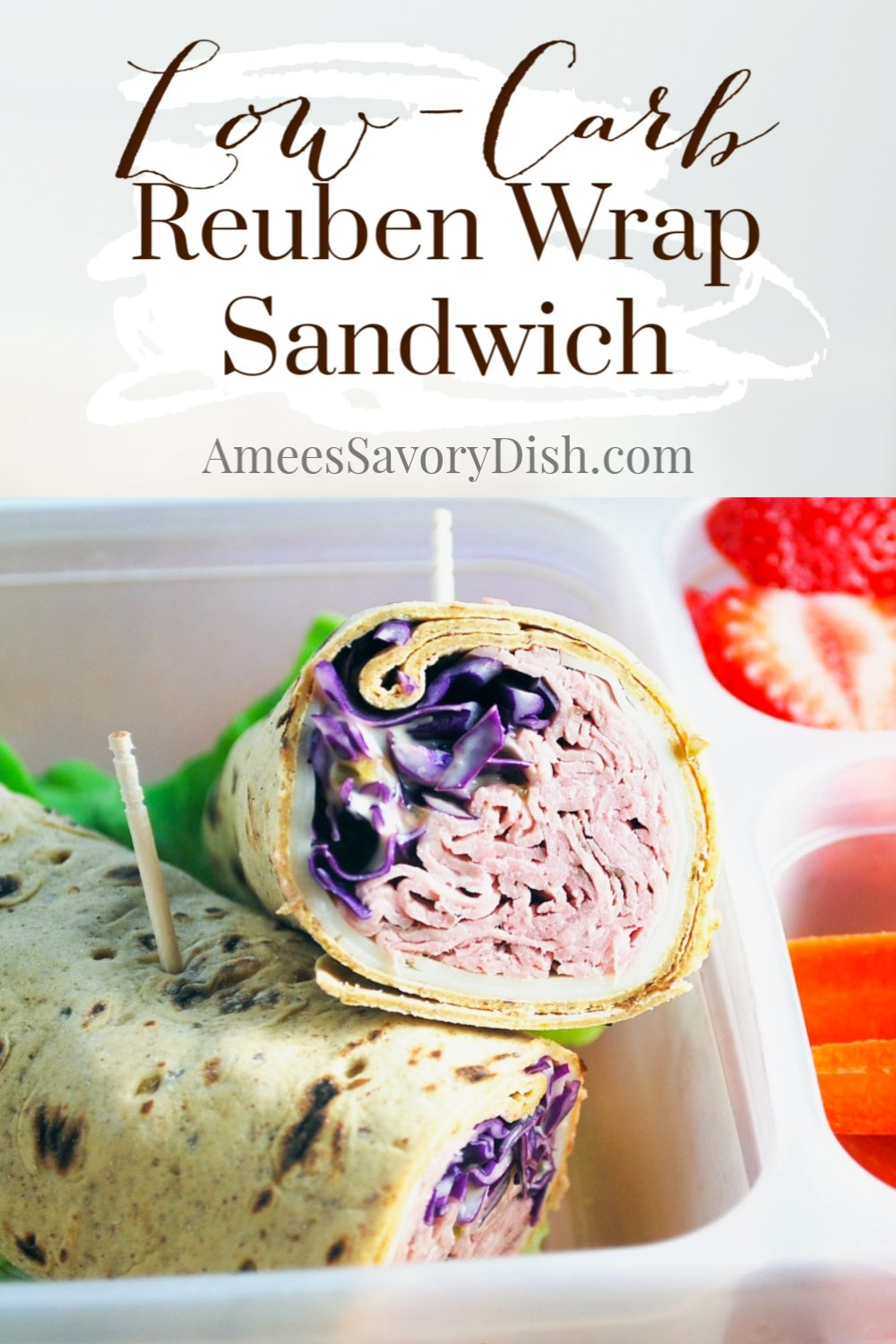 A simple and easy light Reuben wrap sandwich recipe made with sliced deli roast beef, baby swiss cheese, red cabbage, homemade thousand island dressing rolled up in a high fiber wrap.  This protein-packed recipe is perfect for lunch meal prep! via @Ameessavorydish