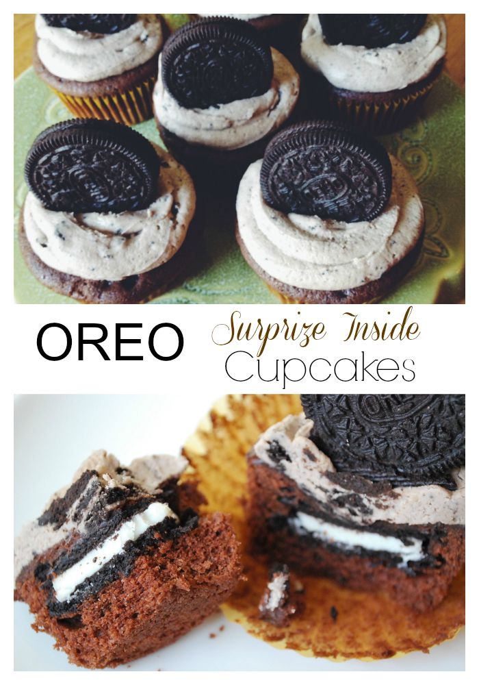 A Chocolate cupcake recipe stuffed with Oreo cookies and topped with Oreo buttercream