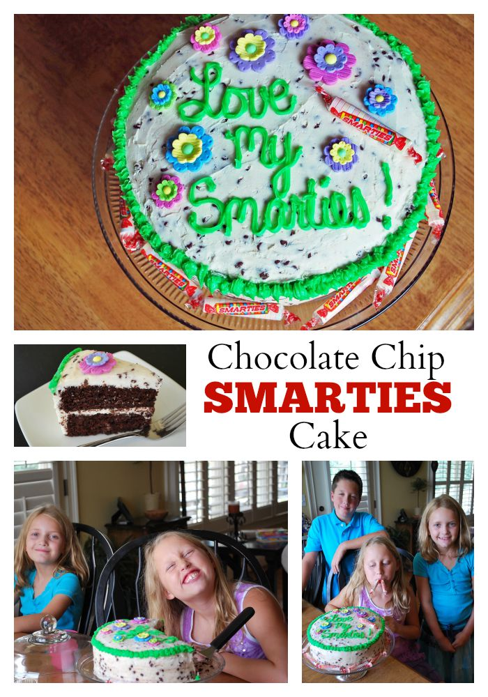 A fun back-to-school party cake idea made with Smarties candies
