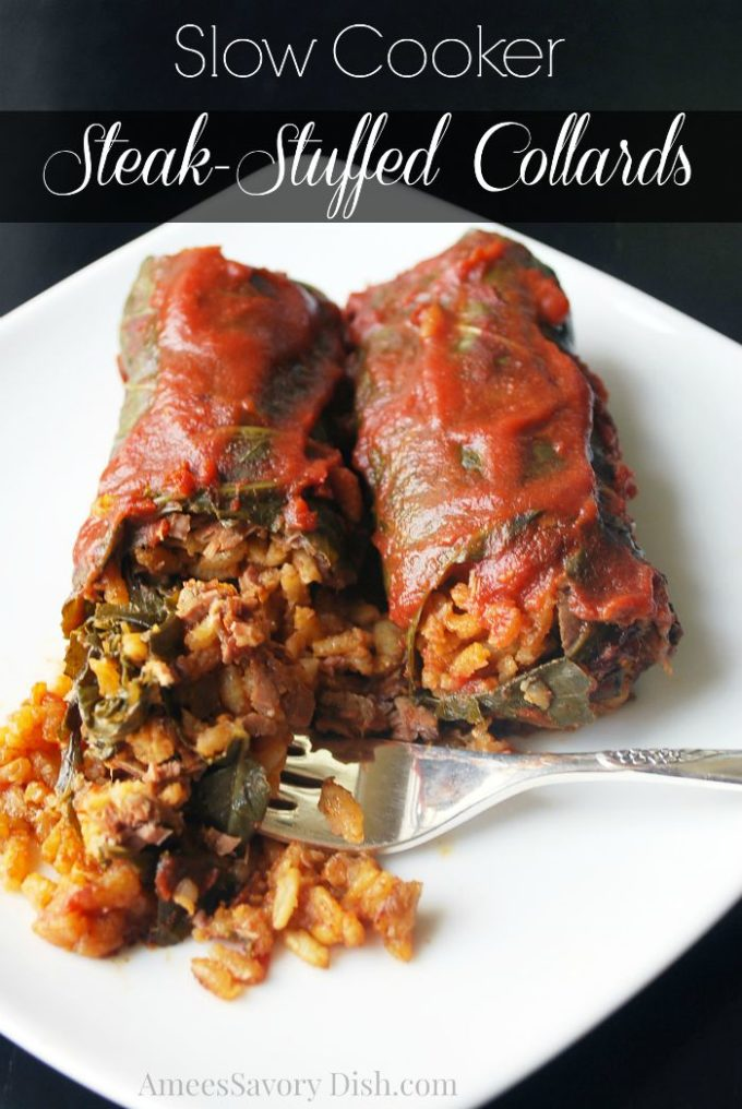 Slow Cooker steak stuffed collard green rolls are a tasty twist on stuffed cabbage rolls made with lean beef and collard greens.