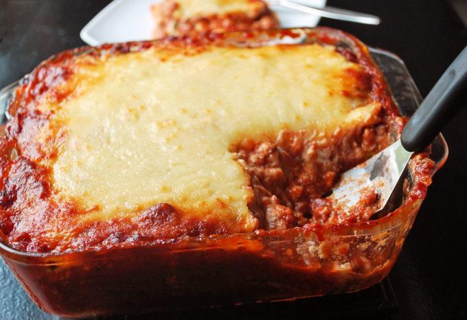 Pan of freshly baked zucchini lasagna