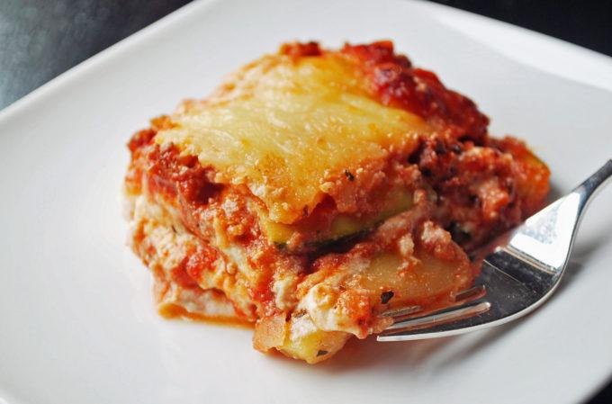 Slice of homemade zucchini lasagna