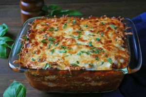 freshly baked pan of zucchini lasagna