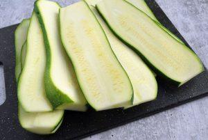 sliced zucchini on a cutting board