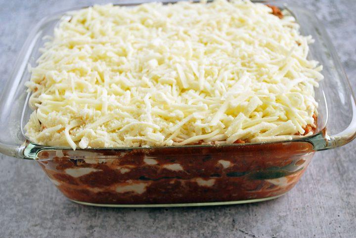 zucchini lasagna in pan ready to bake