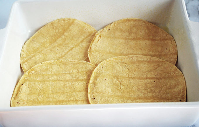 Corn tortillas make the bottom layer of easy Mexican casserole