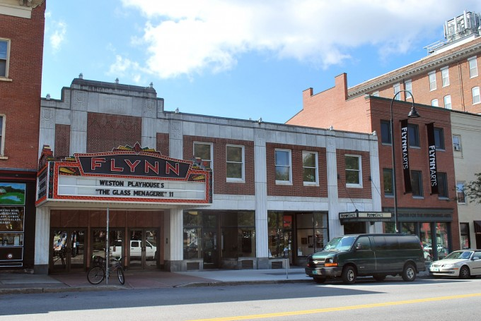 The outside of Flynn\'s theatre in Burlington, Vermont
