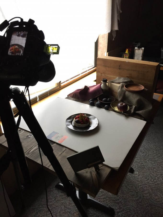 Food photography set up with a camera